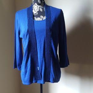Kim Rogers 💙Royal Blue Cardigan Trimmed-Sequins